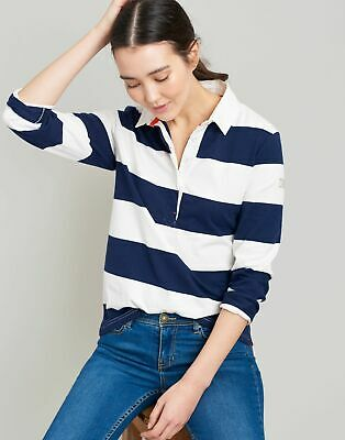 Joules Womens Amber Rugby Shirt - CREAM NAVY STRIPE Size 10
