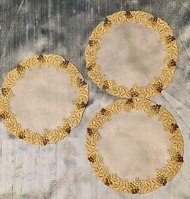 """3 Vintage Marghab Coasters 6"""" Diameter, Unused.Bunches of grapes w. Grape leaves"""