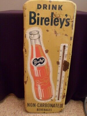 Vintage Bireley's Orange Soda Tin Metal Sign Thermometer