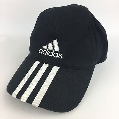 Vintage Adidas Headwear ~ Embroidered Stripes Peak ~ Black Baseball Cap - 2003