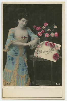 c 1907 Glamour Pretty Lady Young FASHION BEAUTY French photo postcard
