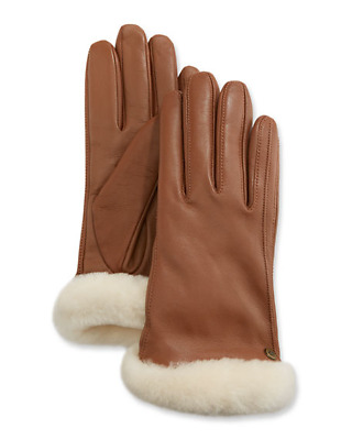 New Nwot Womens Medium Chestnut Ugg Classic Leather Shorty Short Tech Gloves