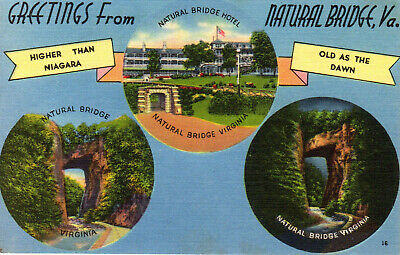 Greetings From Natural Bridge Virginia VA - 3 Views - Postcard - Postmarked 1954