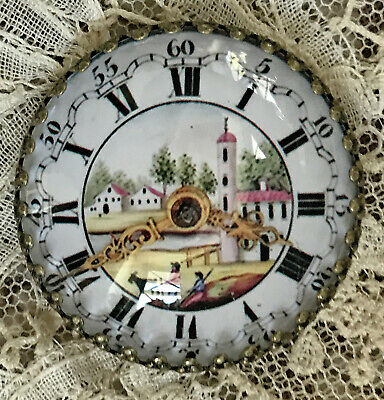 "ANTIQUE POCKET WATCH DIAL Glass Dome BUTTON 1 1/4""  Victorian CLOCK FACE Image"