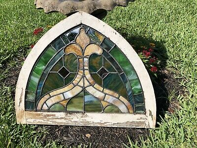 """Antique 19th Century Victorian Arched Stained Slag Glass Window 28"""" X 22"""""""