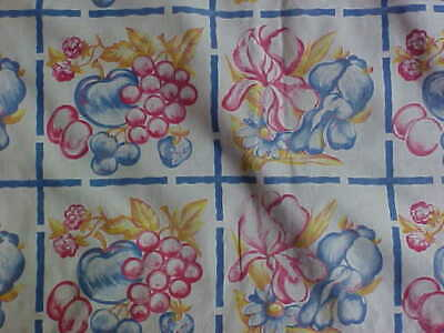 Vintage Red White Blue Fruit Tablecloth