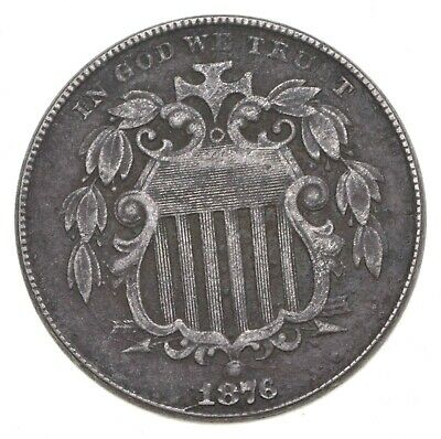 First US Nickel - 1876 - Shield Nickel - US Type Coin - Over 100 Years Old! *933