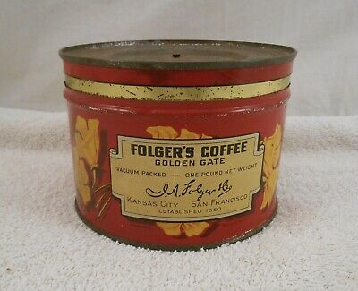 Vintage Folgers Coffee Can Golden Gate Folger`s 1 Pound Empty Tin ( Rare )