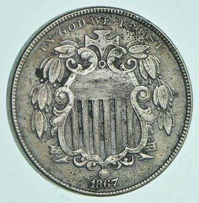 1867 Shield Nickel - With Rays - Charles Coin Collection *594