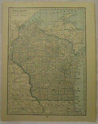 Original 1922 Map of the State of Wisconsin