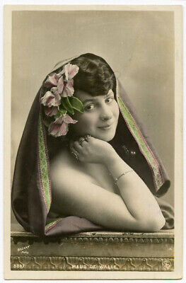 c 1907 Glamour Pretty Lady CABARET THEATER Maud De Walle French photo postcard