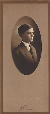 Cute Young Man, High School Photo 1910's, Mated Frame w/Cover, Redlands, Calif.