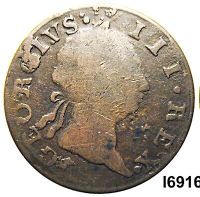 ***Authentic Pre American Rev. War Coin Irish 1769, Outrage at Stamp Act (ALZAR)