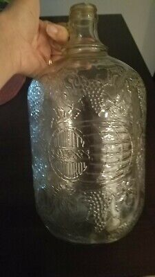 Vintage ONE GALLON Glass Wine Bottle/Jug - Embossed Design - grapes Quality Cont