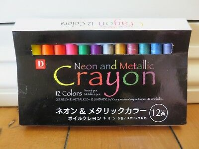 D Stationery Neon & Metallic Crayons 12 Colours BRAND NEW, perfect condition