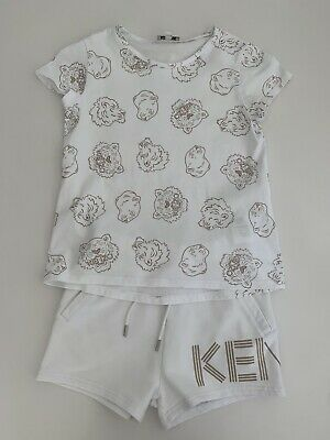 KENZO Girls White and Rose Gold T shirt and Shorts set age 8 Years