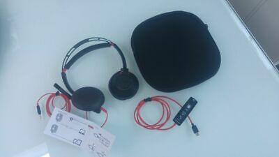 Used- Plantronics Blackwire 5220  Stereo Usb-A/C Headset - Black Red Cable