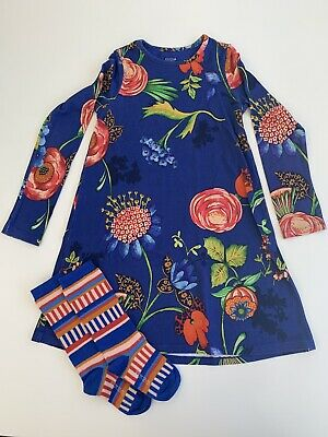 ROOM SEVEN Blue Floral Dress and Socks Set age 7 Years EU 122