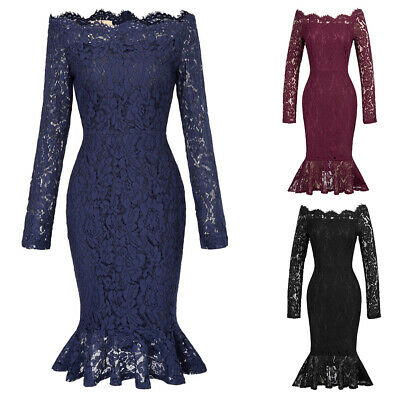 Spring Women Casual Mermaid Dress Off Shoulder Lace Hollow Out Sexy Dresses Hot