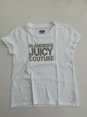 JUICY COUTURE Girls white T Shirt GLAMOROUS JUICY Silver and Gems age 6-7 Years