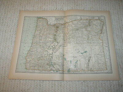 Vintage 1897  Map Oregon Century Atlas Double Page