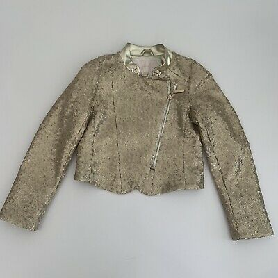 JUNONA Girls Sequin Gold Jacket Age 7-8y 128cm