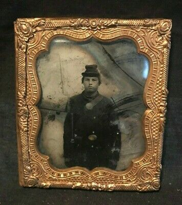 Civil War Ambrotype Soldier w/ Weapon in Copper Frame, Circa mid-1800's As Is