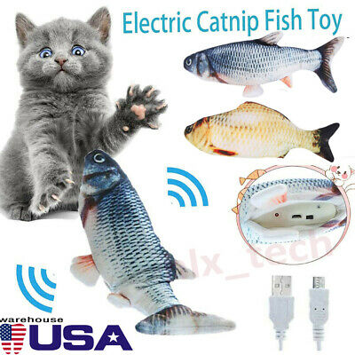 Cat Wagging Fish Toy Interactive Motion Play Pet USB Electronic Toy Dancing Fish