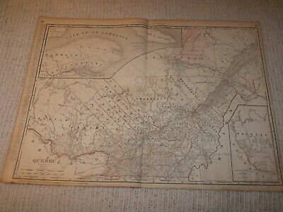 Vintage 1901 Quebec Canada Map Rand McNally Business Atlas Double Page