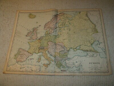 Vintage 1901 Europe Map Rand McNally Business Atlas Double Page