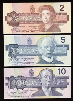 1986 Bank of Canada $2 - $100 Complete Set of Bird Series Banknotes Uncirculated