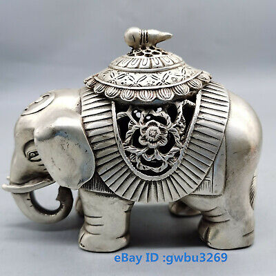 Chinese Old Tibetan silver hand-carved Lucky elephant  Statues Incense burner