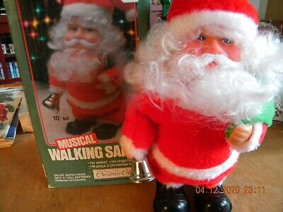 """Vintage 10"""" Musical Walking Santa W/Metal Bell - Untested, But Don't Think Works"""