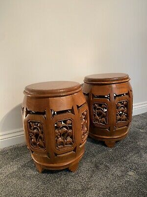 Pair of Antique Oriental Chinese/asian Hardwood Barrel Stools-side Tables-plant