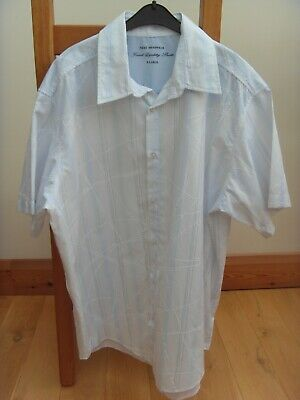 Next Men's Short Sleeve White Shirt with Blue Stripe size XL
