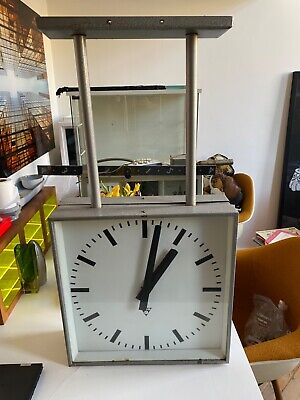 Vintage large double sided factory clock