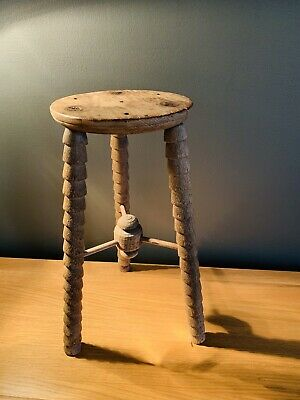 Antique 19th Century Turned Leg Wooden Stool-plant Pot Stand-side Table-vintage