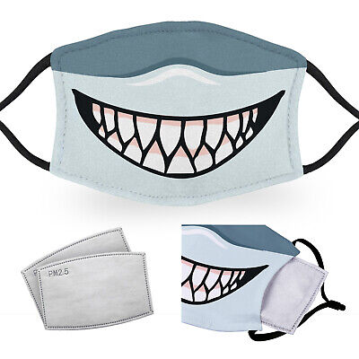 Shark Mouth - Reusable Adult Face Masks - 2 Filters Included