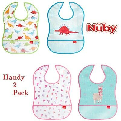 2 x Nuby Catch All Peva Bib Baby Feeding Mess Free Apron Toddler Wipeable Cover