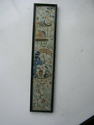 Antique Excellent Chinese Embroidered Silk Picture Panel 19th Century Robe Sleev