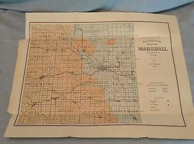 Original 1897 Geological Map of Marshall County Iowa by SW Beyer Library Stamp
