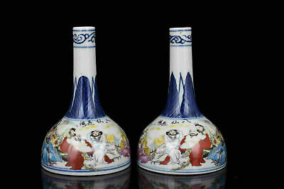 Pair China Old Collectible Hand-Painting Blue And White Porcelain Vases Desktop