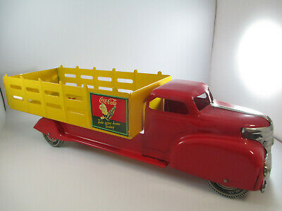 Coca-Cola Louis Marx Tin Litho Delivery Truck Stakebed Sprite Boy Original 1950s
