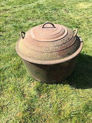 An antique vintage cast iron copper / cooking pot with lids - garden planter