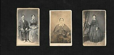 Three Antique Cabinet Card Photographs, A Couple, An Old Woman & A Young Woman