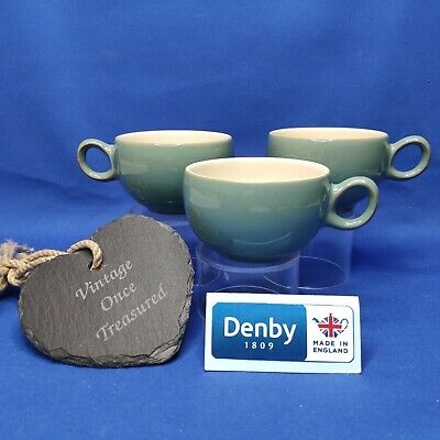 Denby Manor Green Stoneware * 3 x Cups (no saucers) * Vintage 1950s VGC