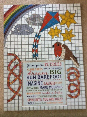 Mosaic picture, original, signed, with a metal plaque inset, child's bedroom