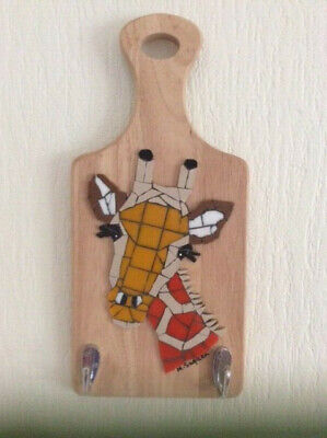 GIRAFFE MOSAIC with HOOKS, new, for keys, Fathers' Day, novelty item. Original,