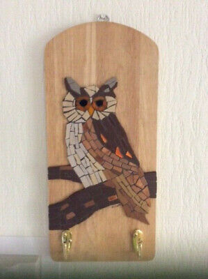 OWL MOSAIC, new original design, upcycled board with new hooks, signed
