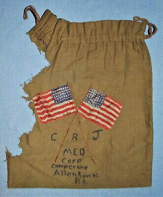 WWI ID'd Ditty Bag w/ Crossed American Flags